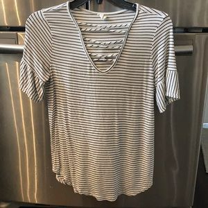 Striped blouse with flutter sleeve. Size small